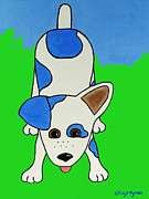 Dog Greeting Cards Prints - Wanna Play? Print by Cheryl Hymes