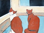 Pet Therapy Framed Prints - Wanting Out Framed Print by Allison  Fauchier