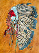 War Pyrography Prints - War Bonnet Print by Mike Holder