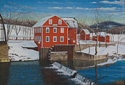 Eagle Mills Paintings - War Eagle Mill by Tim Birlson