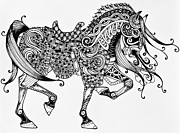 Horse Images Drawings Prints - War Horse - Zentangle Print by Jani Freimann