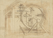 Sketch Drawings - War machine composed of big wheel with 44 steps set in motion by weight of ten men and by soldier by Leonardo Da Vinci