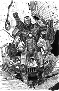 Man Machine Drawings Prints - War Machine Print by Dheeraj Verma