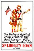 War Poster Photos - War Poster - WW1 - Daddy by Benjamin Yeager