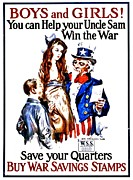 World War One Framed Prints - War Poster - WW1 - Help Uncle Sam Framed Print by Benjamin Yeager