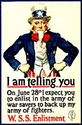 Patriotism Prints - War Poster - WW1 - Uncle Sam Savings Print by Benjamin Yeager