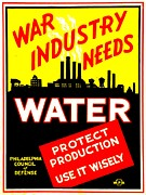 Works Progress Administration Art - War Poster - WW2 - Protect Water Production by Benjamin Yeager
