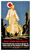 Red Cross Posters - War Poster - WW1 - Christians Support Red Cross Poster by Benjamin Yeager