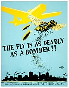 Flies Photo Prints - War Poster - WW2 - Beware The Fly Print by Benjamin Yeager