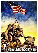 Raising Prints - War Poster - WW2 - Iwo Jima Print by Benjamin Yeager