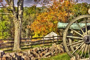 3rd Brigade Prints - War Thunder - 3rd Massachusetts Light Artillery Battery C - J. Weikert Farm Autumn Gettysburg Print by Michael Mazaika