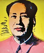 Leader Prints Framed Prints - WARHOLs  MAO  Pop Art Framed Print by Gunter  Hortz