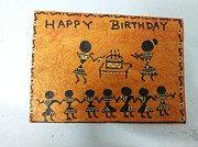 Dots And Lines Paintings - Warli Birthday by Deepika B