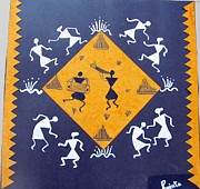 Warli Paintings - Warli Celebration by R J