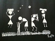 Warli Paintings - Warli Farmers by R J