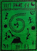 Indian Tribal Art Painting Framed Prints - Warli Tribal Art  Framed Print by Canvas Kalakari
