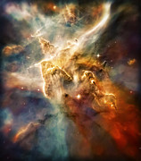 Nebulas Prints - Warm Carina Nebula Pillar 3 Print by The  Vault - Jennifer Rondinelli Reilly