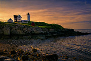Cape Neddick Lighthouse Prints - Warm Nubble Dawn Print by Joan Carroll