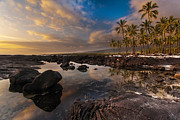 Big Island Prints - Warm Reflected Place of Refuge Skies Print by Mike Reid