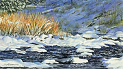 Snowy Brook Paintings - Warm Sun on the Winter Willows by Sharon Lazarowicz
