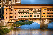 Arno River Framed Prints - Warm Sunlight on Ponte Vecchio Framed Print by George Oze