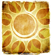 Batik Digital Art Posters - Warm Sunny Flower Poster by Lenny Carter