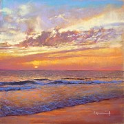 Vibrant Pastels Originals - Warm sunset by Cecile Houel