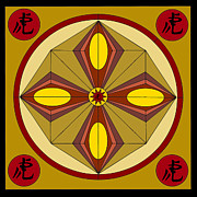 Warm Tiger Mandala Print by Roseann Caputo