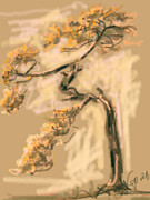 Digital Paintings - Warm Tree by Go Van Kampen