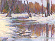 Snow Scene Pastels Posters - Warm Winter Reflections Poster by Billie Colson