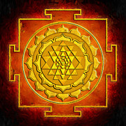 Chi Digital Art Posters - Warming Sri Yantra Poster by Dirk Czarnota