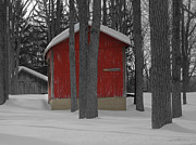 Red Barn In Winter Photos - Warmth in the Cold 2 by Steven  Michael