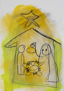 Baby Jesus Mixed Media Prints - Warmth od Nativity Print by Laraine Astarita