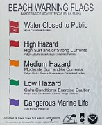 Pensacola Beach Prints - Warning Flags Print by JC Findley