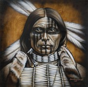 Native American Painting Metal Prints - Warpaint Metal Print by Tim  Scoggins