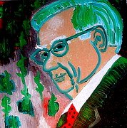 Stock Market Painting Posters - Warren Buffett Sage of Omaha 2 Poster by Richard W Linford
