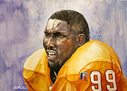 Pattison Framed Prints - Warren Sapp Tamba Bay Buccaneers  Framed Print by Michael  Pattison