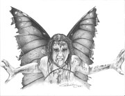 Torn Drawings Posters - Warrior Fairy Poster by Carolee Conway