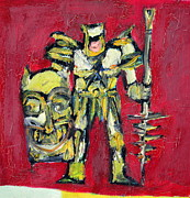 Soldier Paintings - WARRIOR with SHIELD and SPEAR by Fabrizio Cassetta