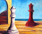 Chess Queen Painting Posters - Wars of Roses the Queens Poster by Sarah Barnaby