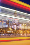 Abstract Sights Metal Prints - Warsaw Downtown Light Trails Abstraction Metal Print by Artur Bogacki