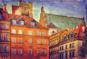 Old Town Digital Art Acrylic Prints - Warsaw Old Town Buildings Acrylic Print by Izabela Kaminska