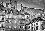 Old Town Digital Art Acrylic Prints - Warsaw Old Town bw Acrylic Print by Izabela Kaminska