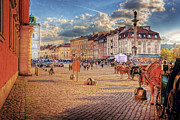Old Town Digital Art Acrylic Prints - Warsaw Old Town Castle Square Acrylic Print by Izabela Kaminska