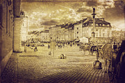 Old Town Digital Art Acrylic Prints - Warsaw Old Town Castle Square Sepii Acrylic Print by Izabela Kaminska