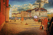 Old Town Digital Art Acrylic Prints - Warsaw Old Town Castle Square Textured Acrylic Print by Izabela Kaminska