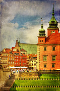 Old Town Digital Art Acrylic Prints - Warsaw Old Town HDR Textured Acrylic Print by Izabela Kaminska