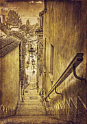 Old Town Digital Art Acrylic Prints - Warsaw Old Town Street Sepia Acrylic Print by Izabela Kaminska