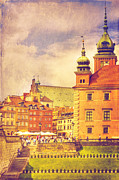 Old Town Digital Art Acrylic Prints - Warsaw Old Town Vintage Acrylic Print by Izabela Kaminska