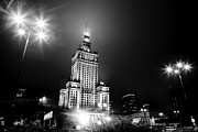 Polish Culture Framed Prints - Warsaw Poland downtown skyline at night Framed Print by Michal Bednarek